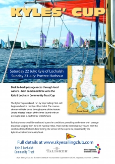 Poster for the Kyles Cup sailing race by Skye Sailing Club, Portree, Scotland