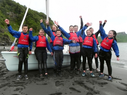 Sleat Primary School P7s at Skye Sailing Club to try sailing for the first time